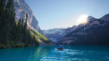 A beautiful lake in the Rocky Mountains near Banff, Alberta province, Canada